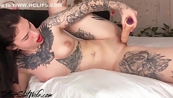 Brunette Passionate Masturbate Dildo After Waking Up - Solo