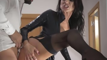 Delightful Raven Haired Milf In Beautiful Leather Jacket Gets Fucked On Stairways How Challenging