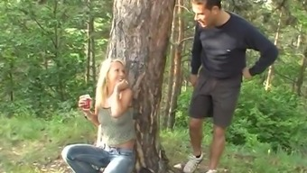Jeans-Clad Black By Using Lovely Natural Titties Loving A Intense Fuck In A Woods