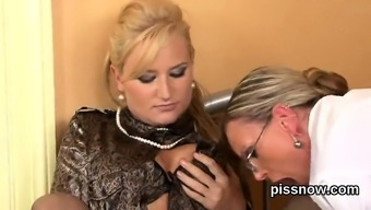 Shocked Viewer In Panties Is Geeting Urinated On And Drilled