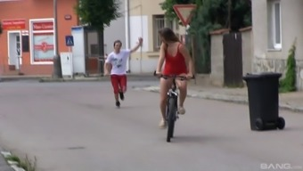 Teenager Beauty Takes A Little Time Off Her Cycle Drive For Your Open Air Pussy Thumping