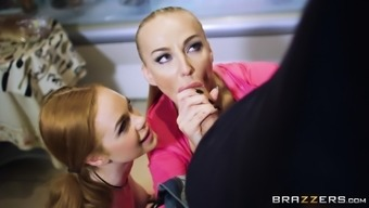 Kayla Orange And Ella Hughes Recruit And Get A Threesome Inside A Kitchen