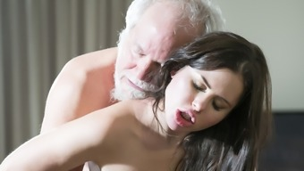 Teen Interrupts Grand Father From Yoga And Stinks His Cock Stormy