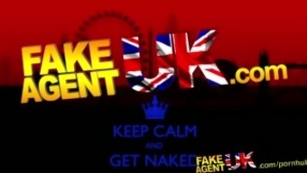 Fakeagentuk Attractive Brown Bomb Shell Squirts Without Restraint Over Spreading Settee