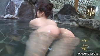 Blemished Far Eastern Girl Rin Hitomi Barbs Up With One Stranger Within A Masses Bath