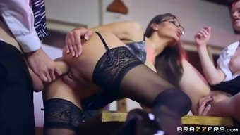 Busty Instructor Sensuous Jane Illustrates Ginger Student Ella Hughes Fucking In 3some