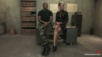 Dirty Tale Within The Military Through Use Of An Ebony Shemale Officer Fucking Pr. Jack Smith Mallet Or Hammer