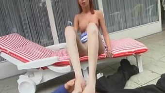 Skinny Redhead Performs In Her Pantyhose Thereafter Makes Him Ejaculate