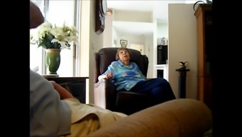 Bloke Massage Techniques His Joystick While Discussing With A Grandma