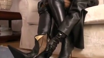Hot Blonde Mockery In A Leather-Based Tub Chair And High-Heel Footwear