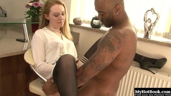 Stylish Blond With Genuine Titties Taking Pleasure In First-Rate Phallus Hardcore In Interracial Porn