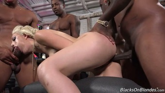Audience Of Love-Making Ravenous Dark Black Males Smash One Twisted Light Bitch Jenna Ivory By Turn