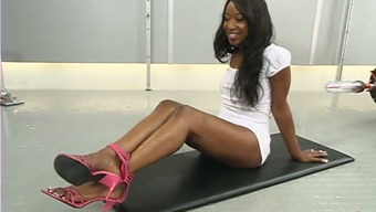Stacey Income Gets Her Hairy Black Pussy Under The Influence Of Alcohol Using A Love-Making Machinery