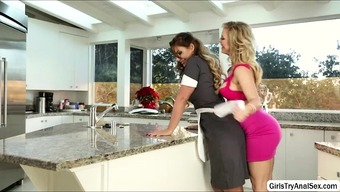 Lesbians Defeat Pussy With The Food Prep