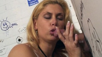 Curvy Blonde Milf Rams Her Cherry Against Cock Along At The Gloryhole