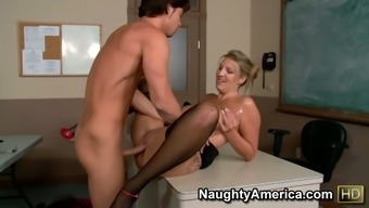 Naughty Milf Jezebel Jones Seduces Her Pupil And Fuck Him Within A Institution Elegance
