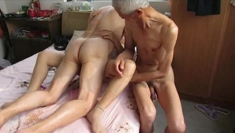Asian Grand Father Trio Along With Age Woman