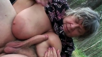 Outdoor Trio Along Attractive Granny And Teenager