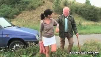 Lovely Baby Seduces Grand Father On The Road