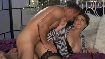 Mama Office Female In Stockings Likes Steel Solid Joystick Deep-Down Her