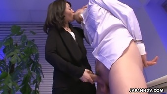 Self-Assured From Asia Nympho Mitsuki Gives Her Naughty Co-Worker An Excellent Footjob