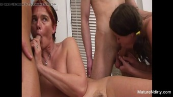 Granny And Baby Provider Two Different Cocks In A Foursome