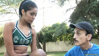Cheerleader And A Dirty Old One Along With A Large Penis Have Sex