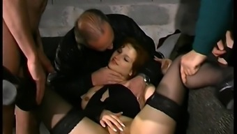 Young Conversational French Readhead Slut Gangbanged By Old Guys