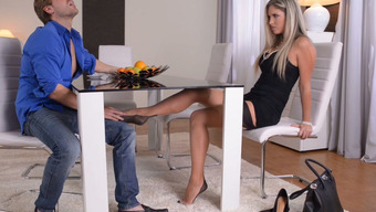 Fascinating Blond In Stockings Give Footjob To One Supplied Hunk