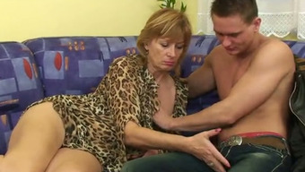 Little Jerk Really Liked To Caress And Fuck Granny Located On The Divan