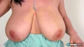 Bare Bad Fats Blond Along With Vast Titties Rubs Her Meat Protein As A Hollow