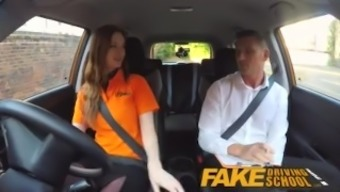 Fake Driving School Busty Redheaded Pupil Fucked With Her Furry Ginger Pussy