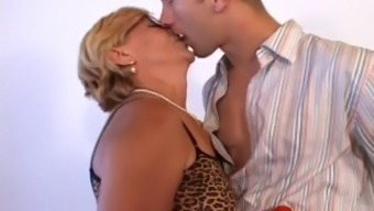 Fascinating Granny Along With Glasses Fucks Her Dollhouse Lad