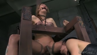Juggy Chick With Tied Up Entire Body Gets Her Crummy Cherry Fucked By Horny Female Friend