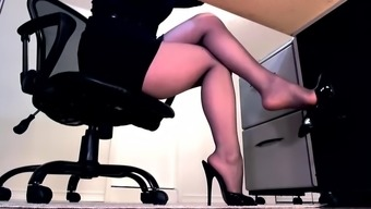 Pantyhose Tramp In High Heel Shoes Wishes To Give You A Footjob