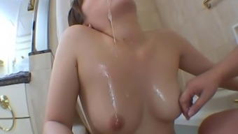Fine Ass Dame Being Washed Within The Tub Before Getting Insertions In Her Own Openings