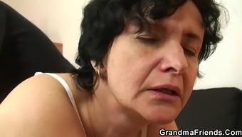 Notably Old Hairy Pussy Granny Swallows Two Different Cocks