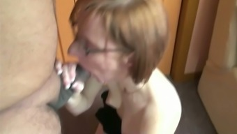 Red-Haired Milf In Glasses Stinks A Limited Phallus In The House