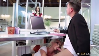 Prick Touching Blond Desk Staff Gives A Blowjob In The Office