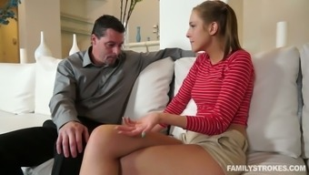 Pigtailed Youngster Chick Let Her Perverted Move Papa Lcik Her Pussy A Lot