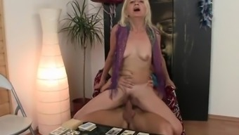 Thin Blond Granny Cycling Huge Meat Protein As A