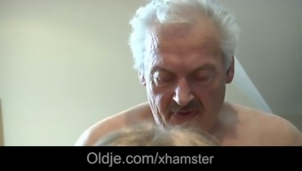 Light Colored Haired Grandpa Fucks His Tech-Leery Young Maid