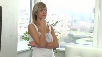 Light Haired Darling By Using Organic Titties Masturbates His Or Her Own Pussy