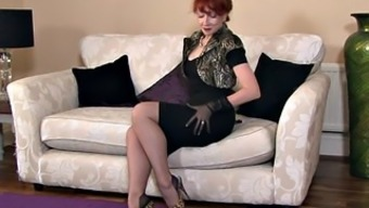 Redhead Mum Along With Stockings In Lick Action