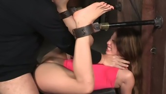 Gorgeous White Girl Chained Into The Submit And Fucked Along With Bbc