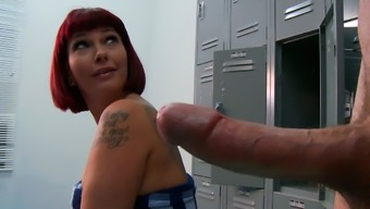 Little Dude Spying Busty Red Colored Haired Milf Carrie Ann Having A Shower