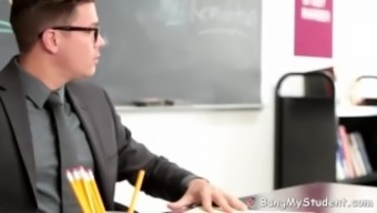 Heated Schoolgirl With The Use Of Substantial Titties Tours Her Teacher'S Major Hard Penis