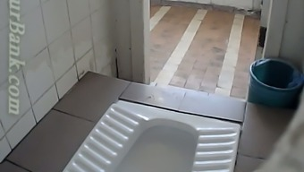 Blonde Beginner Girl Filmed From Behind Within The Potty Room