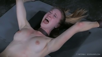 Crucified Awkward Gf Ashley Street Gets Her Restricted Pussy Pleasured With Item Tough