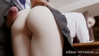 Rebecca Volpetti Serves As A Pigtailed Lusty Coed Hen That Likes Riding Her Coach